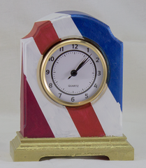 Desk Clock - William Arch Style - Red White and Blue