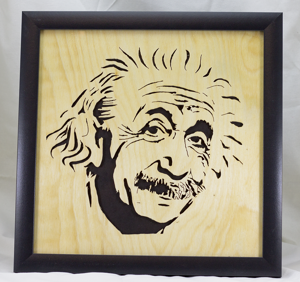 Scroll Art - Einstein Under Glass