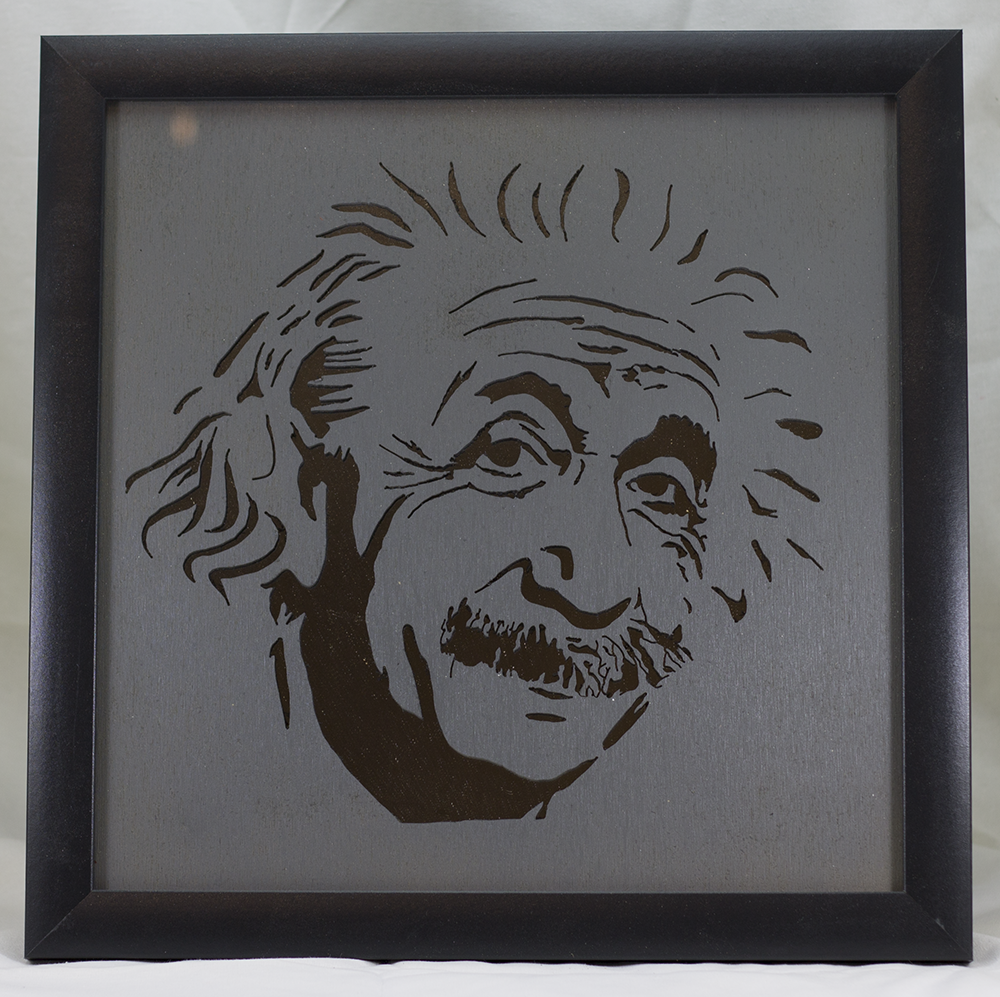 Scroll Art - Einstein Under Glass - Mirrored Background