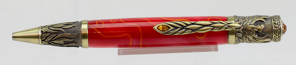 Phoenix Rising Antique Copper Twist Pen - Red