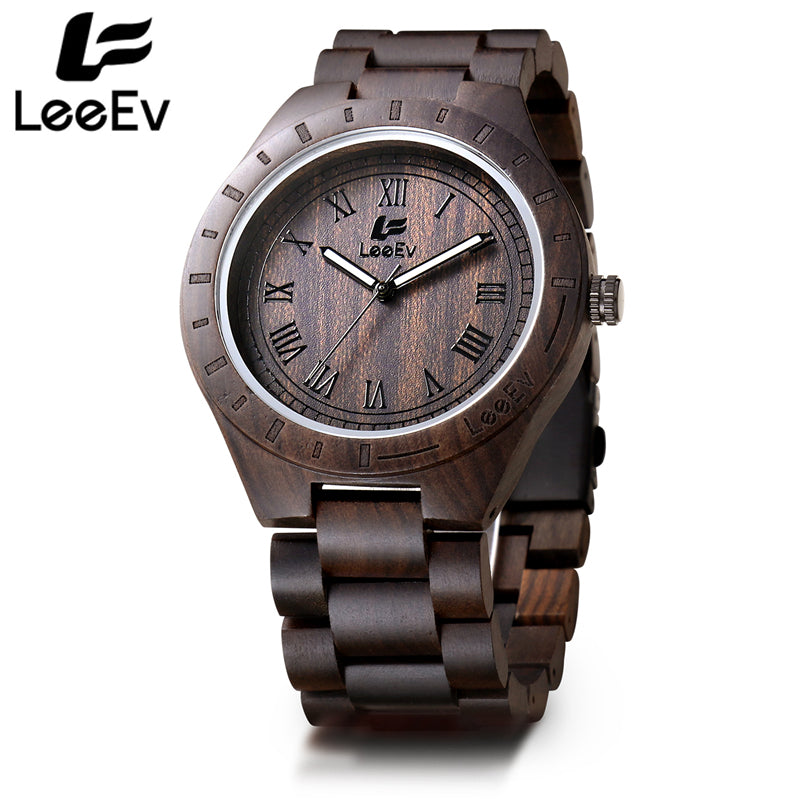 LeeEv Black Ebony Wooden Watch for Men Unique Design Top Brand Luxury Quartz Wood Band Night Green Pointer Wristwatches EV1001