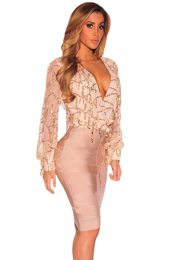 Champagne Flowing Sequins Bodysuit