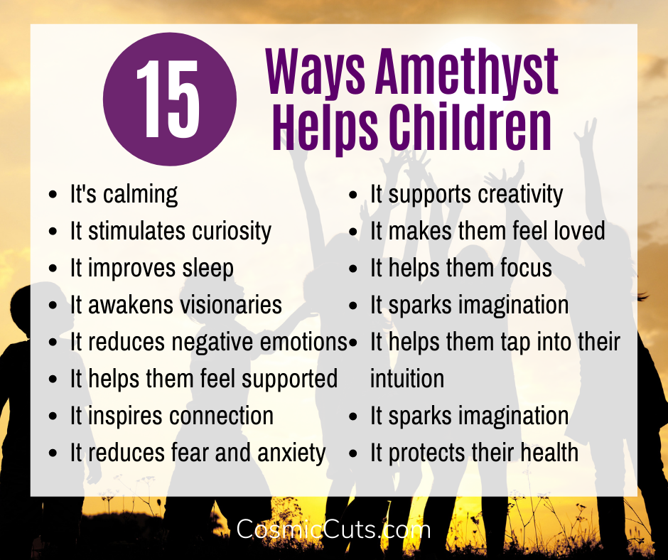 15 Ways Amethyst Helps Children Infographic