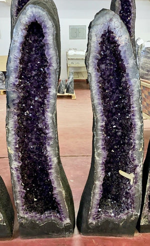 """HEAVENLY BRILLIANCE"" Huge Amethyst Geode Pair 50.00 Crystal High Quality Cathedrals"