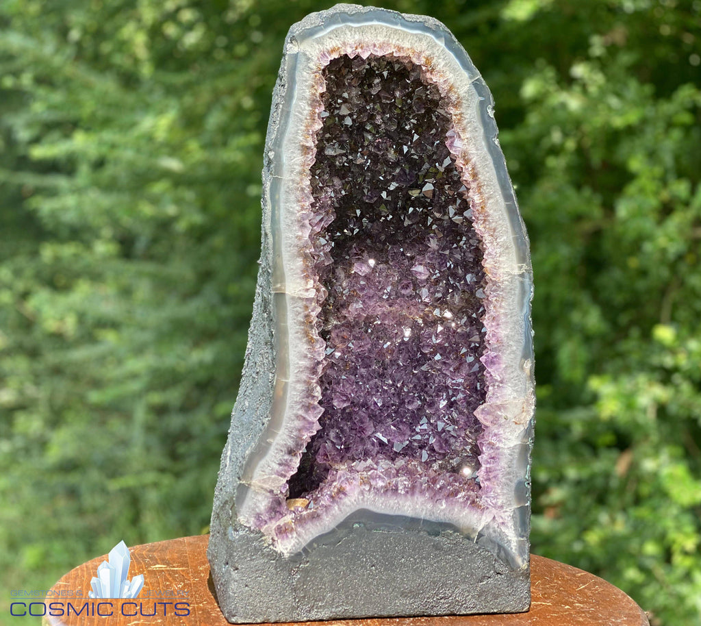 "DEEP Amethyst Geode ""GOOD MOOD GEODE"" 17.00 High Quality w Citrine Cathedral NS-104"