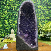 """MAJESTIC & MAGICAL"" Brazil Amethyst Geode 15.00 High Quality Cathedral Agate Rim NS-204"