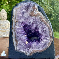 "Amethyst Geode ""MY DIRTY LITTLE SECRET"" 7.00 Cathedral w Calcite RAINBOW PRISM NS-95"