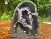 "Amethyst Geode 5.00 ""LOOK AT THE PRISMS"" High Quality w Agate Rim NS-1"