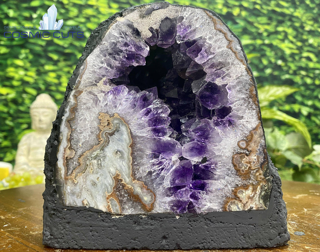 """MOON ROCK"" Brazil Amethyst Geode 5.00 High Quality Flower Formation Cathedral NS-297"