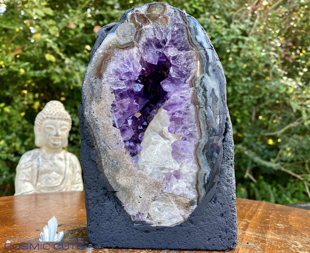 """IS THIS A DREAM?"" Amethyst Geode w Calcite 7.00 High Quality Agate Rim Brazil NS-315"