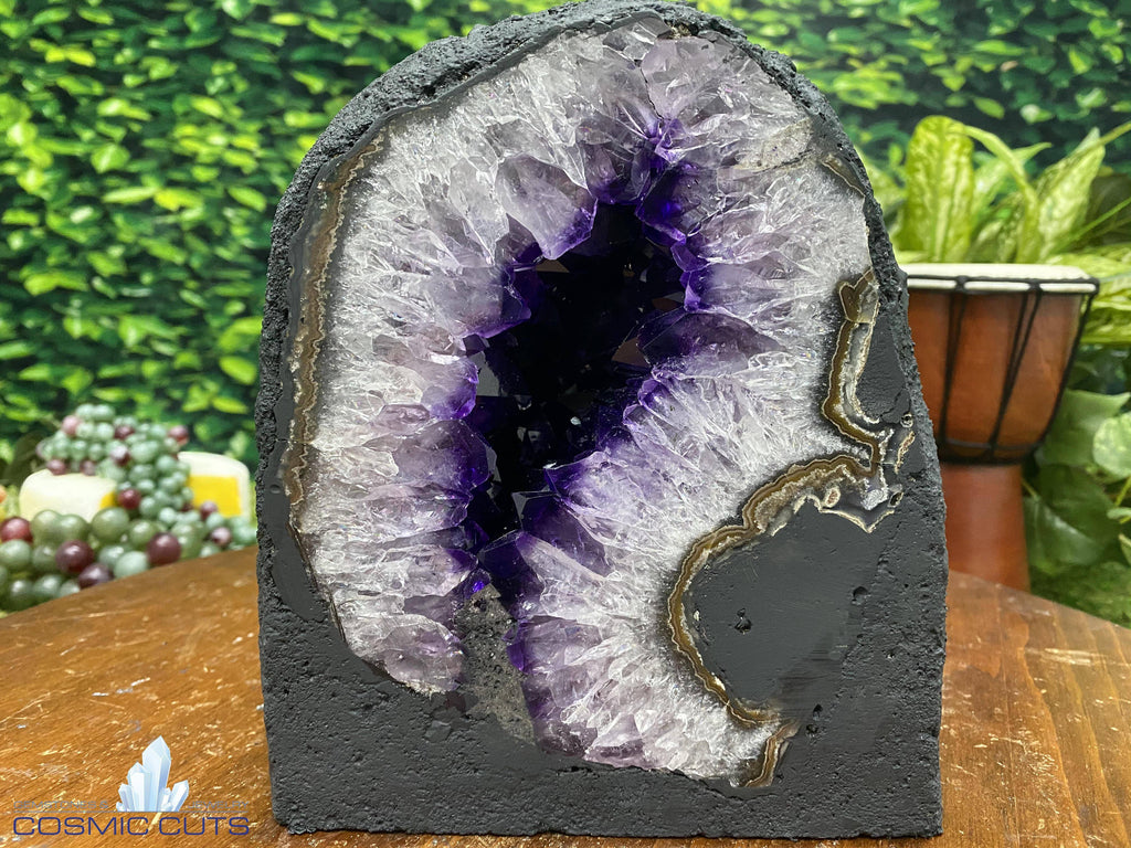 "Amethyst Geode Cathedral ""PURPLE LAZER BEAM"" 7.00 High Quality Gorgeous Luster Agate Rim NS-121"