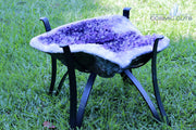 """Open Top"" Amethyst Geode Table 16.75"" High Quality w Custom Glass & Stand"
