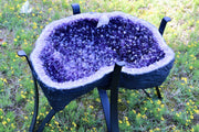 """Healing Haven"" Amethyst Geode Table 17.25"" High Quality w Custom Glass & Stand"
