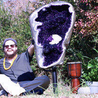 Huge Spectacular Quality Amethyst Geode 42.50 Uruguayan w Stand ZZ-22s