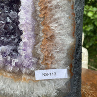 "Huge Amethyst Geode ""SWEET BABY CHAMOMILE"" 13.00 Cathedral Agate Rim Clear Quartz NS-113"