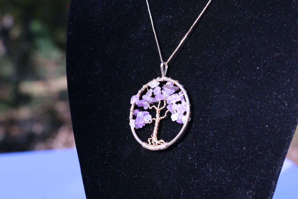 Amethyst Geode Tree of Life Jewelry Necklace Pendant Healing Stone JJ-7