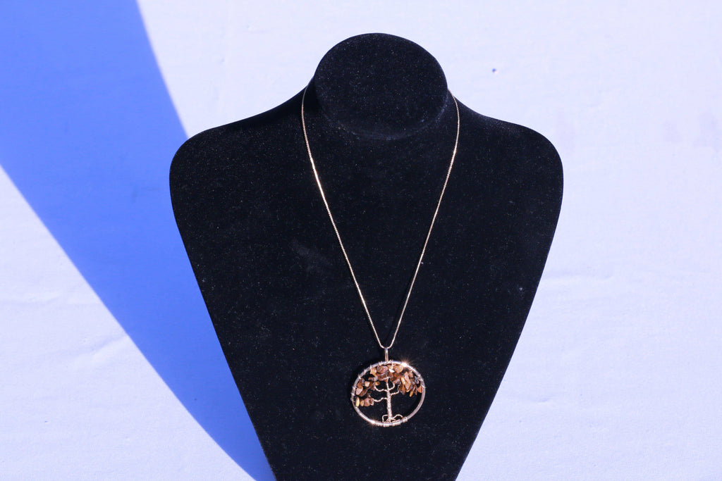 Tree of Life Necklace Made From Tiger's Eye