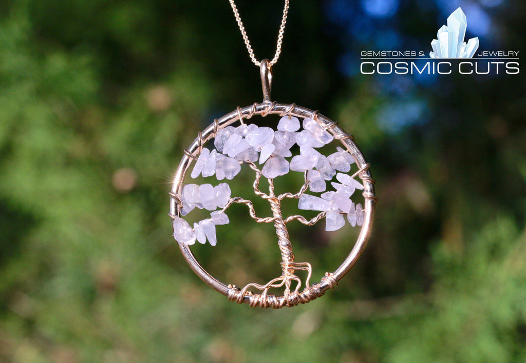 Rose Quartz Tree of Life Jewelry Necklace Pendant Healing Stone JJ-6