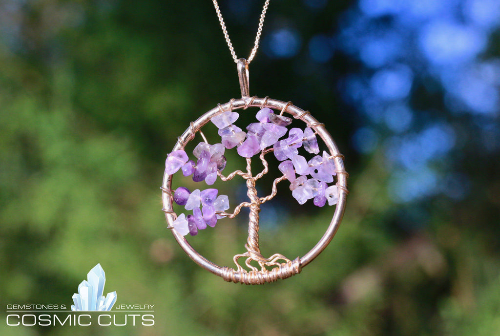 Amethyst Geode Tree of Life Jewelry Necklace Pendant Healing Stone