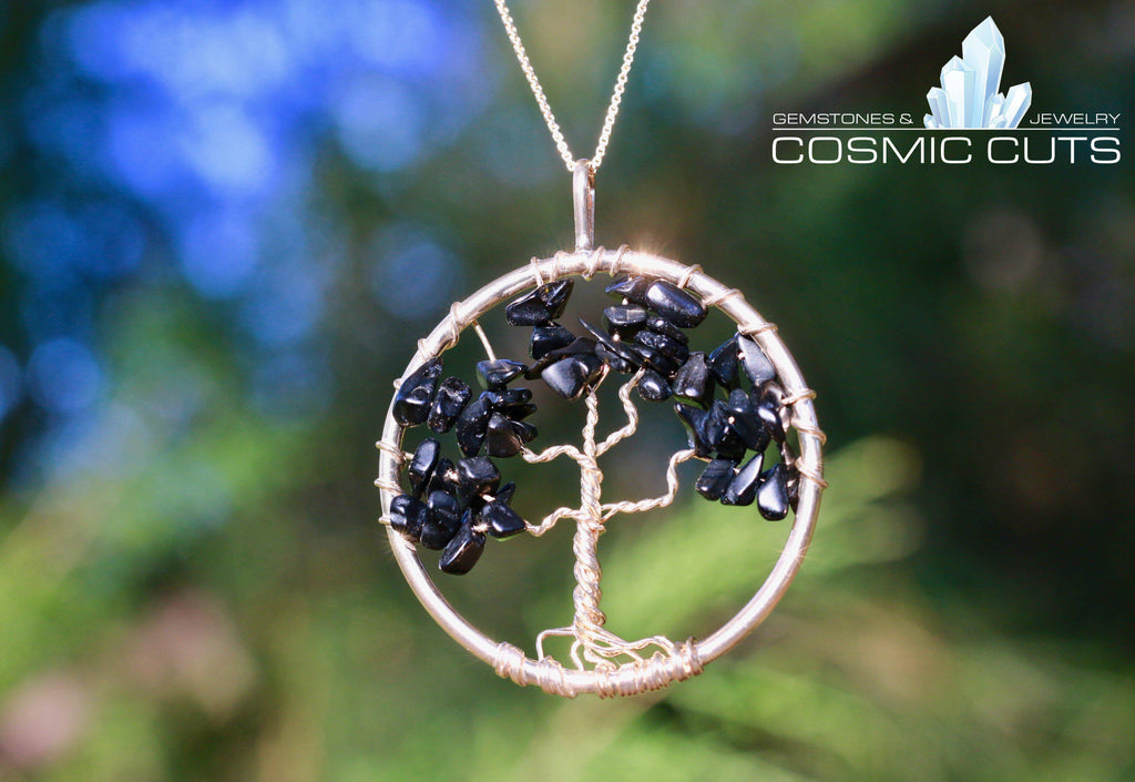 Black Tourmaline Tree of Life Crystal Necklace Healing Stone Jewelry JJ-8