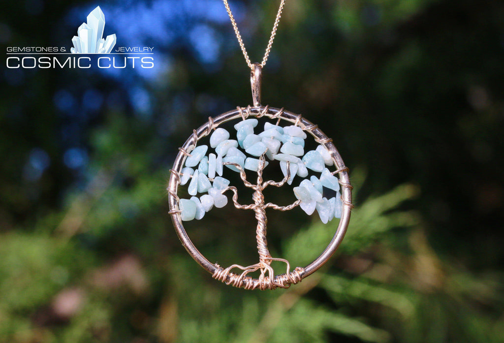 Aquamarine Crystal Healing Stone Tree of Life Necklace Jewelry JJ-9