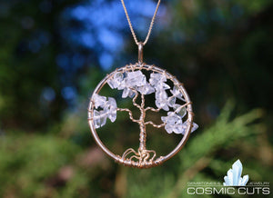 Clear Quartz Tree of Life Crystal Jewelry Healing Stones Necklace JJ-11