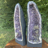"Amethyst Geode ""PAIR-A-DISE"" 16.00 High Quality Pair w Calcite Citrine Brazil NS-40"