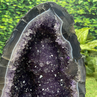 "Tall Amethyst Geode ""RACING STRIPE"" 12.00 High Quality Brazil Rare Thick Agate Rim NS-202"
