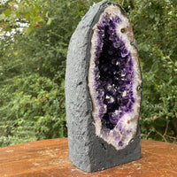"""FLOWER BED"" Brazil Amethyst Geode 11.00 Crystal Dark Purple Cathedral NS-252"