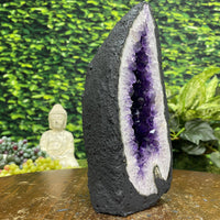 """FENG SHUI ARROW"" Amethyst Geode w Flower Formation 8.50 Brazil Cathedral NS-281"