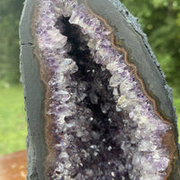 "Amethyst Geode ""SMOOTH PURPLE VELVET"" 7.50 Rainbow Prism Encrusted Cathedral NS-17"