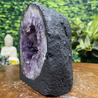 """HAPPY BUBBLY BEAUTY"" Amethyst Geode High Quality w Calcite 5.00 Cathedral Brazil NS-339"