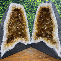"""MAGIC CARPET RIDE"" Matching Citrine Geode Pair 12.00 Cathedrals High Quality NS-375"