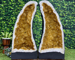 """HEAVENLY GATES"" Matching Citrine Geode Pair 20.00 High Quality Cathedral NS-383"