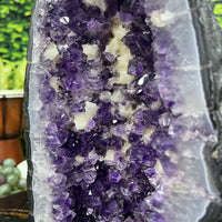 """FAR AWAY GALAXY"" Amethyst Geode 11.00 Brazil Cathedral w Calcite High Quality NS-432"