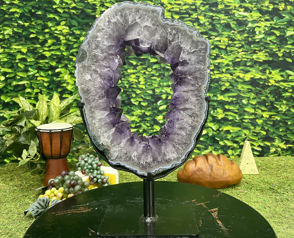 """NATURE'S HULA HOOP"" Amethyst Geode Slice 16.00 High Quality Brazil NS-398"
