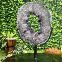 """SPIRITUAL LIFE BUOY"" Amethyst Geode Slice 17.00 Crystal High Quality NS-402"