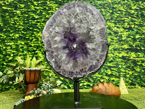 """GONG OF REFINEMENT"" Amethyst Geode Slice 17.00 High Quality Crystal NS-406"