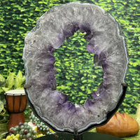 Amethyst Geode Heart w Stand 6.00 Superb Quality Beauty LL-47s
