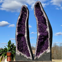 """FENG SHUI TREASURE TROVE"" 50.00 Huge Matching Amethyst Geode Pair AMAZING QUALITY EE-12"