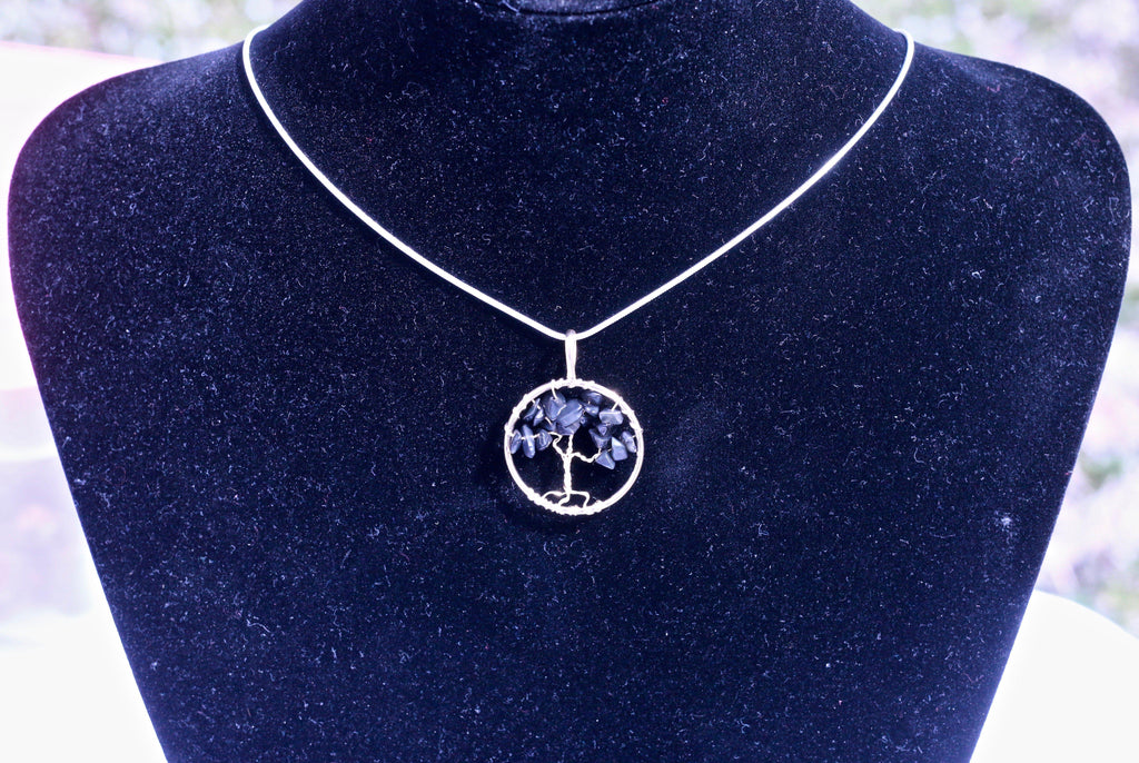 Black Tourmaline Tree of Life Necklace