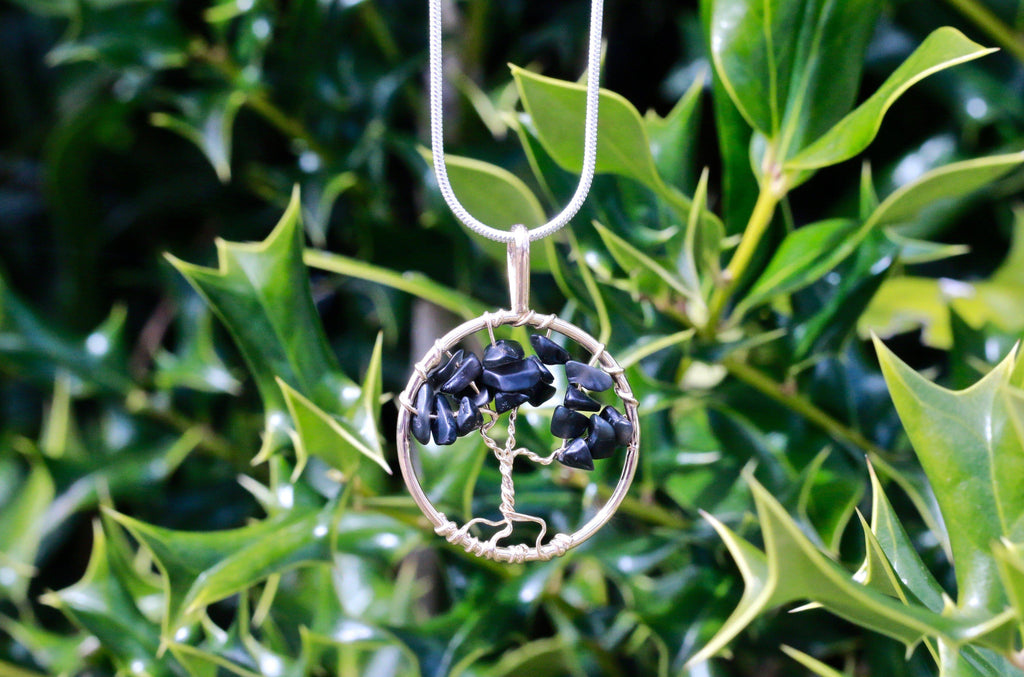 Mini Black Tourmaline Tree of Life Crystal Necklace Healing Stone Jewelry JJ-20