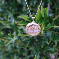 Gold Plated Rose Quartz Tree of Life Necklace JJ-17