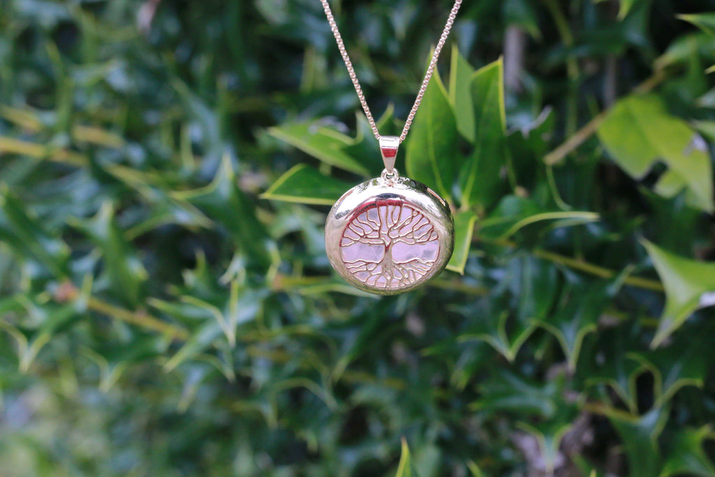 Rose Quartz Gold Plated High Quality Tree of Life Jewelry Necklace JJ-17