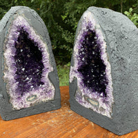 "DEEP Amethyst Geode ""ENLIGHTENMENT PAIR"" 10.00 High Quality Cathedral Pair NS-100"