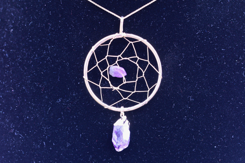 Amethyst Geode Dreamcatcher Necklace Jewelry Necklace JJ-13