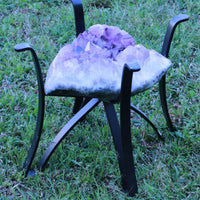 "Amethyst Geode Table ""Spice Up Your Life"" 16.25 High Quality w Stand and Custom Glass Crystal LL-80s"