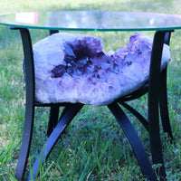 "Amethyst Geode Table ""Living the Life"" 16.25 High Quality w Stand and Custom Glass Crystal LL-84s"