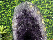 "Amethyst Geode Table ""Reading Rainbow"" 16.75 High Quality Dark Purple w Custom Stand and Glass LL-86s"