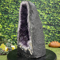 """DON'T WORRY, BE HAPPY"" Huge Amethyst Geode 19.00 Cathedral High Quality NS-509"